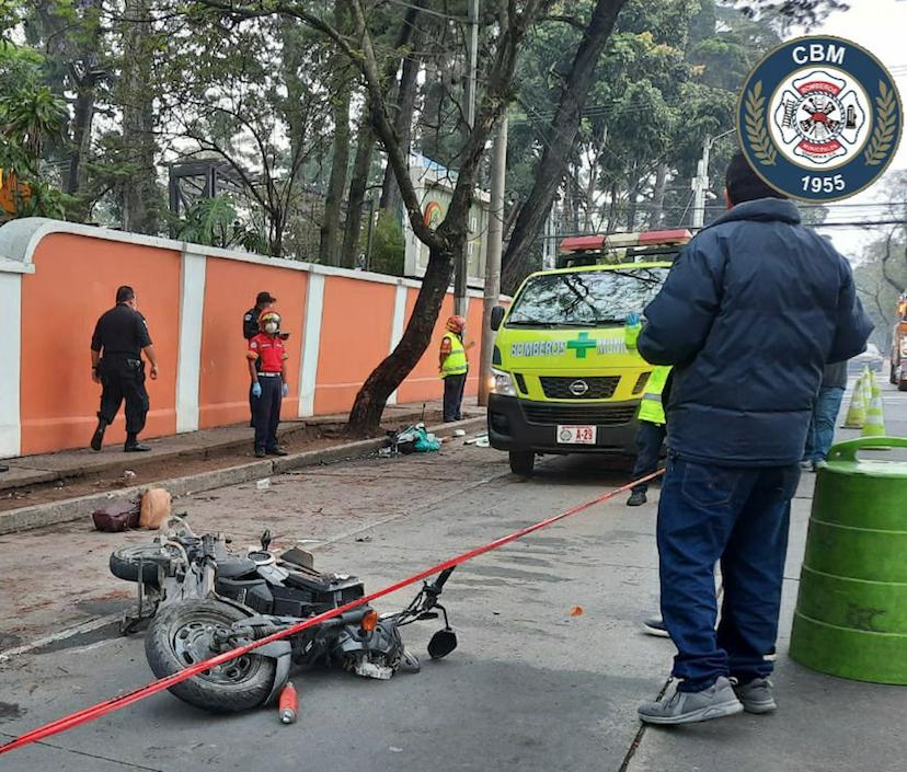 accidente de motocicleta en zona 9