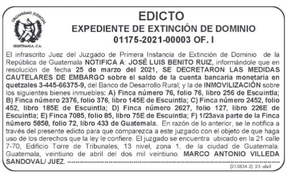 Embargan cuentas bancarias al exministro José Luis Benito