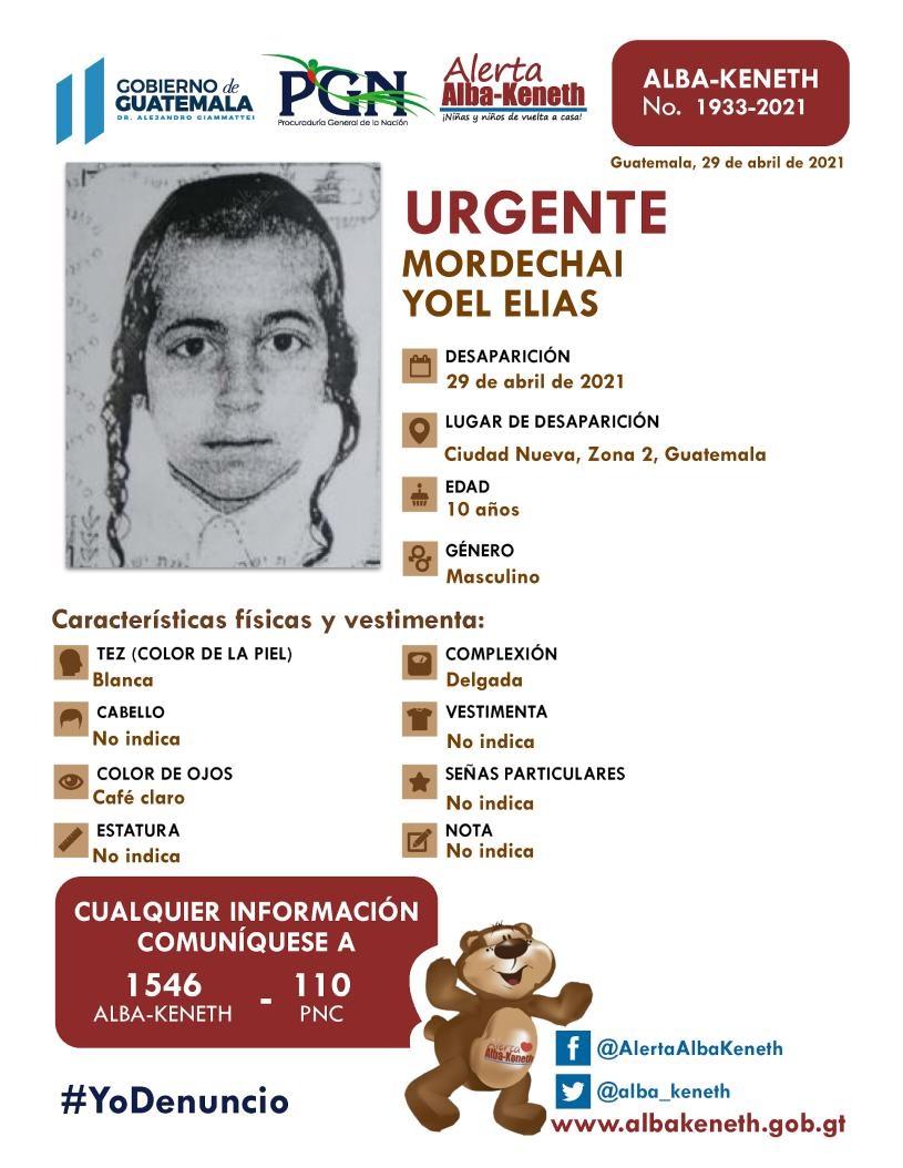 Hermanos judíos desaparecidos. Mordechai Yoel Elías, de 10 años.