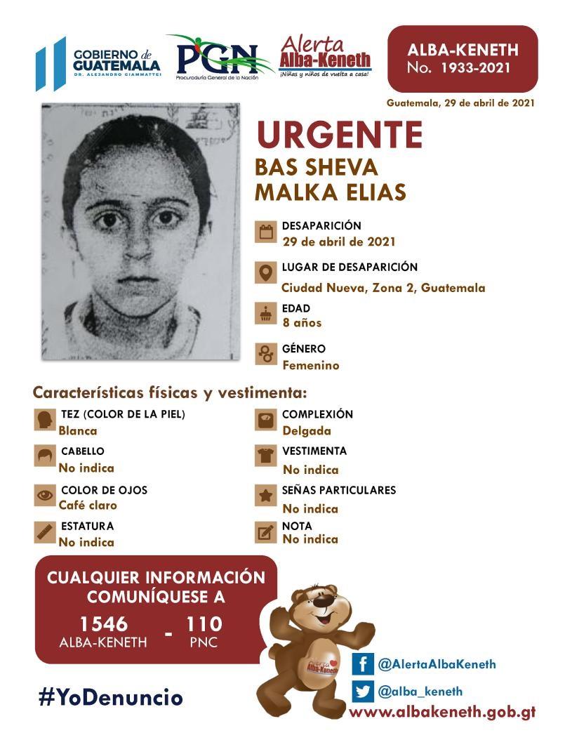 Hermanos judíos desaparecidos. Bas Sheva Malka Elías, de 8 años.