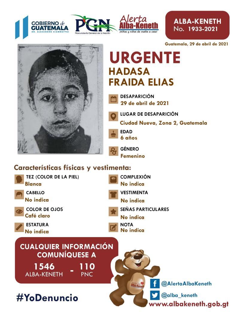 Hermanos judíos desaparecidos. Hadasa Fraida Elías, de 6 años.