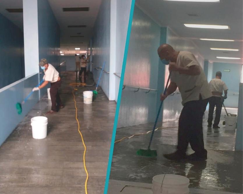 limpieza en hospital general San Juan de Dios por protocolos por Covid-19
