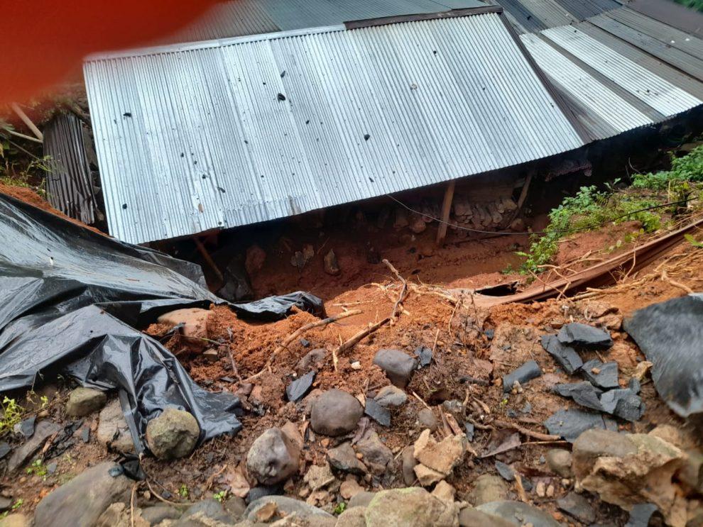 Se registró un derrumbe en una casa de El Tumbador, San Marcos