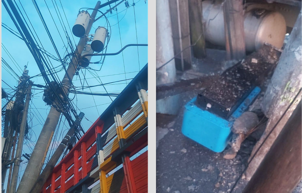 Camión colisiona contra postes y cabina de telefonía en zona 17
