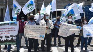 manifestación del Comité Campesino del Altiplano (CCDA) para exigir renuncia de Alejandro Giammattei
