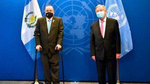 Alejandro Giammattei y Antonio Guterres