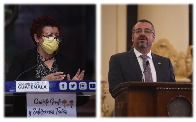 ministros de Salud, Amelia Flores, y de Cultura, Felipe Aguilar