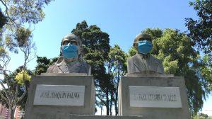 monumentos con mascarilla en la capital