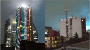 Luces en el cielo durante sismo en México