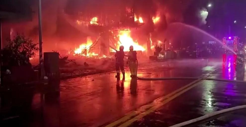 Incendio en edificio de Taiwán